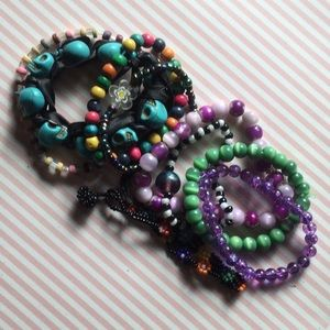 Colorful rainbow lot of 9 nine bracelets bundle 90